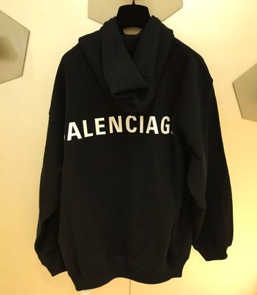 BALENCIAGA Unisex Street Style Long Sleeves Plain Cotton Oversized Logo