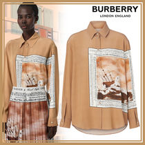 Burberry Other Check Patterns Silk Long Sleeves Office Style