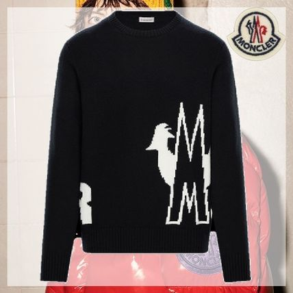 MONCLER Sweaters Crew Neck Pullovers Unisex Wool Cashmere Long Sleeves Plain