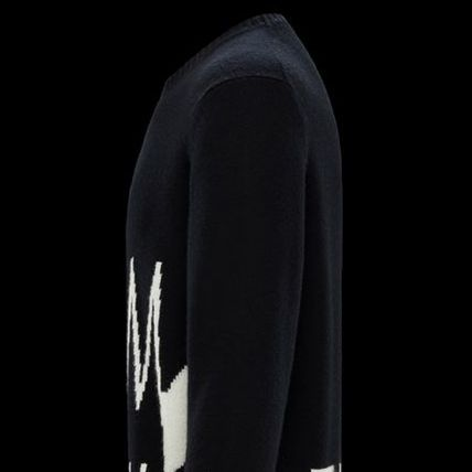 MONCLER Sweaters Crew Neck Pullovers Unisex Wool Cashmere Long Sleeves Plain 4
