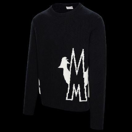 MONCLER Sweaters Crew Neck Pullovers Unisex Wool Cashmere Long Sleeves Plain 5