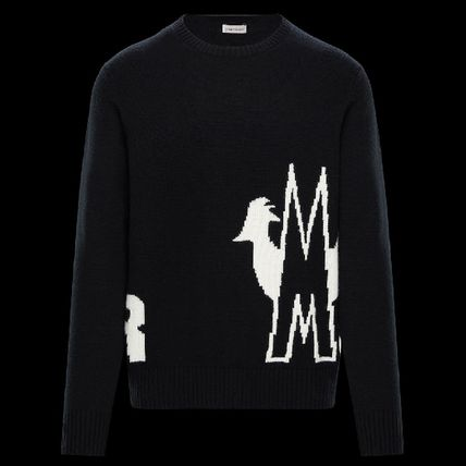 MONCLER Sweaters Crew Neck Pullovers Unisex Wool Cashmere Long Sleeves Plain 6