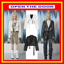 OPEN THE DOOR Unisex Street Style Plain Leather Biker Jackets