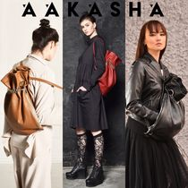 Aakasha Casual Style 2WAY Chain Plain Leather Handmade Elegant Style