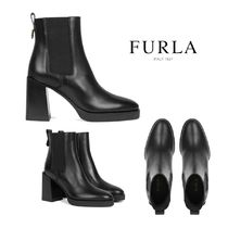 FURLA Rubber Sole Casual Style Plain Leather Block Heels
