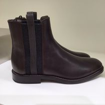 BRUNELLO CUCINELLI Plain Leather Block Heels Ankle & Booties Boots