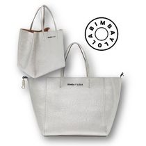 bimba & lola Casual Style A4 Plain Leather Office Style Totes