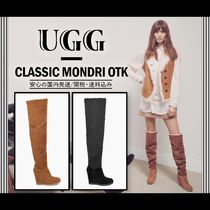 UGG Australia Suede Plain Leather Block Heels High Heel Boots
