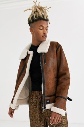 Short Faux Fur Plain Shearling Biker Jackets