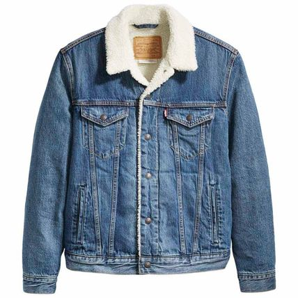 Unisex Denim Street Style Denim Jackets Shearling Logo