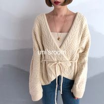 Cable Knit Casual Style Wool Long Sleeves Plain Medium Gowns