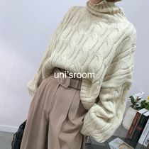 Cable Knit Short Casual Style Wool Puffed Sleeves