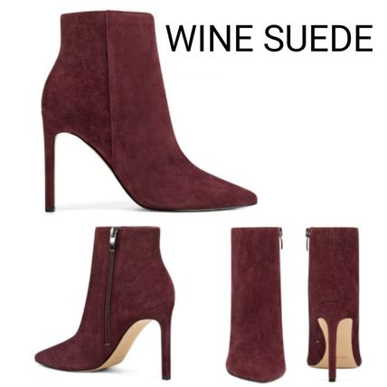 Suede Plain Leather Pin Heels Party Style