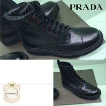 PRADA Lace-up Casual Style Leather Lace-up Boots