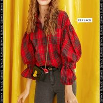 ELF SACK Tartan Other Check Patterns Casual Style Puffed Sleeves
