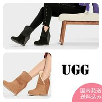 UGG Australia Casual Style Sheepskin Plain Leather Wedge Boots