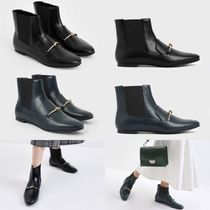 Charles&Keith Casual Style Faux Fur Plain Chelsea Boots Elegant Style