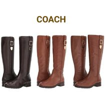 Coach Round Toe Plain Leather Block Heels Flat Boots