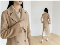 NAIN Casual Style Wool Plain Long Party Style Office Style
