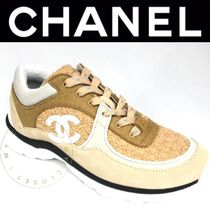 CHANEL SPORTS Unisex Tweed Blended Fabrics Plain Leather Handmade Sneakers