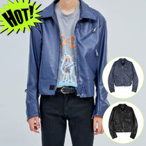OPEN THE DOOR Short Street Style Plain Biker Jackets