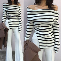 Cable Knit Short Stripes Casual Style Wool Cashmere Rib