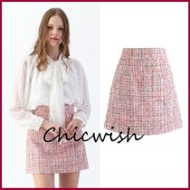 Chicwish Chicwish Sequins Tweed Bud Mini Skirt in Pink