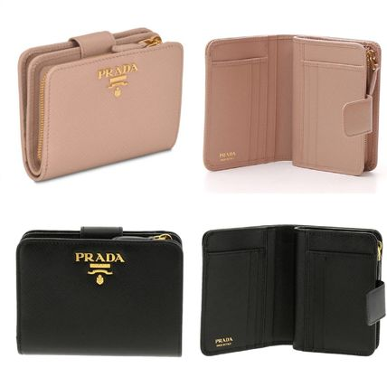 PRADA Folding Wallets Calfskin Plain Folding Wallets
