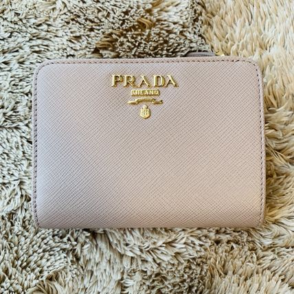 PRADA Folding Wallets Calfskin Plain Folding Wallets 4