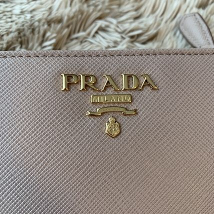 PRADA Folding Wallets Calfskin Plain Folding Wallets 11