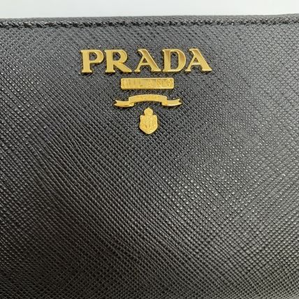PRADA Folding Wallets Calfskin Plain Folding Wallets 20