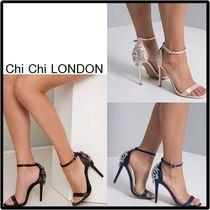 Chi Chi London Open Toe Rubber Sole Blended Fabrics Plain Pin Heels