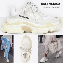 BALENCIAGA Triple S Platform Round Toe Rubber Sole Lace-up Casual Style Unisex