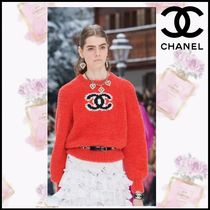 CHANEL Crew Neck Casual Style Wool Cashmere Blended Fabrics