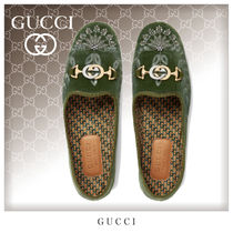 GUCCI Loafers Unisex Blended Fabrics Plain Loafers & Slip-ons