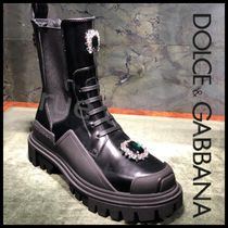 Dolce & Gabbana Round Toe Rubber Sole Casual Style Plain Leather With Jewels
