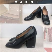 MARNI Square Toe Plain Leather Elegant Style Chunky Heels