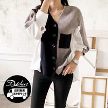 Casual Style Long Sleeves Plain Cotton Medium Office Style