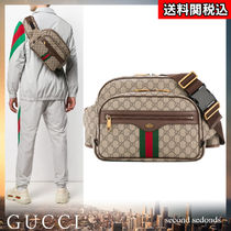 GUCCI Ophidia Stripes Monogram Canvas Blended Fabrics 2WAY Leather Bags
