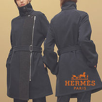 HERMES Casual Style Denim Medium Coats