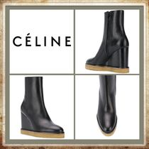 CELINE Casual Style Plain Leather Office Style Wedge Boots