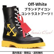 Off-White Plain Toe Unisex Street Style Plain Leather Engineer Boots