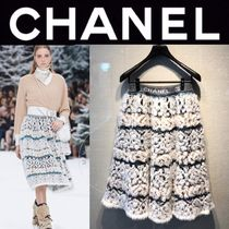 CHANEL ICON Flared Skirts Wool Cashmere Blended Fabrics Street Style