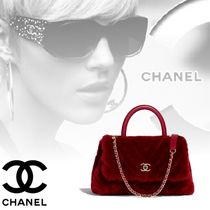 CHANEL Lambskin Blended Fabrics 2WAY Chain Plain Party Style