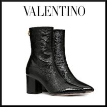 VALENTINO Plain Leather Block Heels Elegant Style