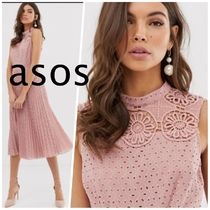 ASOS Sleeveless Flared Medium High-Neck Lace Elegant Style