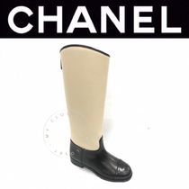 CHANEL ICON Plain Toe Casual Style Street Style Bi-color Plain Leather