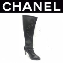 CHANEL ICON Plain Toe Street Style Plain Leather Pin Heels Handmade