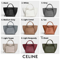 CELINE Big Bag Calfskin 2WAY Plain Khaki Crossbody Logo Handbags