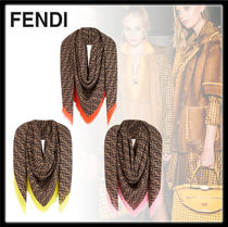 FENDI Monogram Casual Style Cashmere Silk Office Style